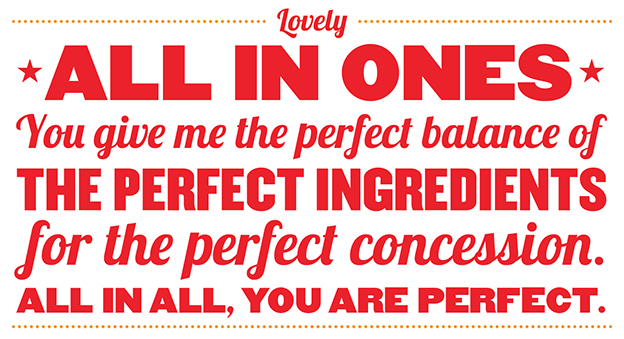 Lovely All In Ones you give me the perfect balance of the perfect ingredients for the perfect concession. All in all, you are perfect.