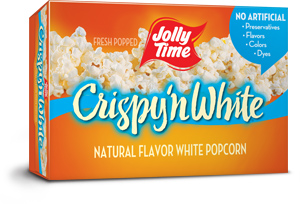 Jolly Time Crispy 'n White Microwave Popcorn. Tender white popcorn kernels with a natural flavor. Whole grain, high in fiber thumbnail