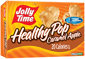 Jolly Time Healthy Pop Caramel Apple Microwave Popcorn. 94% fat free, low calorie sweet popcorn endorsed by Weight Watchers.