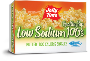Jolly Time Healthy Pop Butter Low Sodium Microwave Popcorn. 100 calorie snack size low salt popcorn endorsed by Weight Watchers.